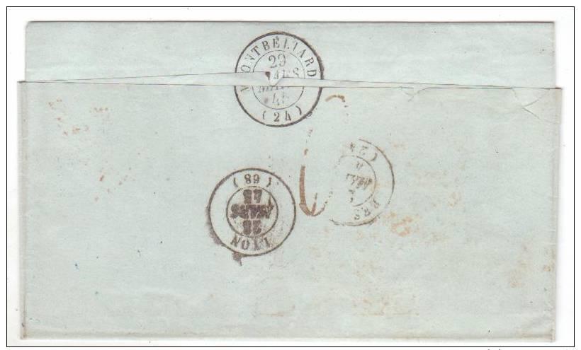 Cachet  D'entrée - Espag. Perpignan 25 Mars 1845 Pour Audincourt - Marcofilie (Brieven)