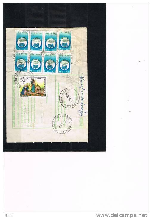 13)Italia Storia Postale Bollettino Spedizione 24.11.92 Pantelleria(TP)/Cammarata (AG) Affr. 8 X £.750+ £.600 - 6. 1946-.. Republic