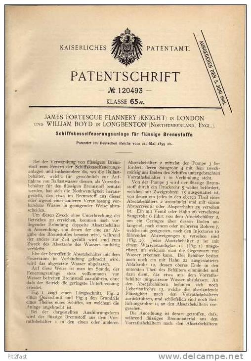 Original Patentschrift - W. Boyd In Longbenton Und London , 1899 , Feuerung Für Schiffe , Boat !!! - Boats