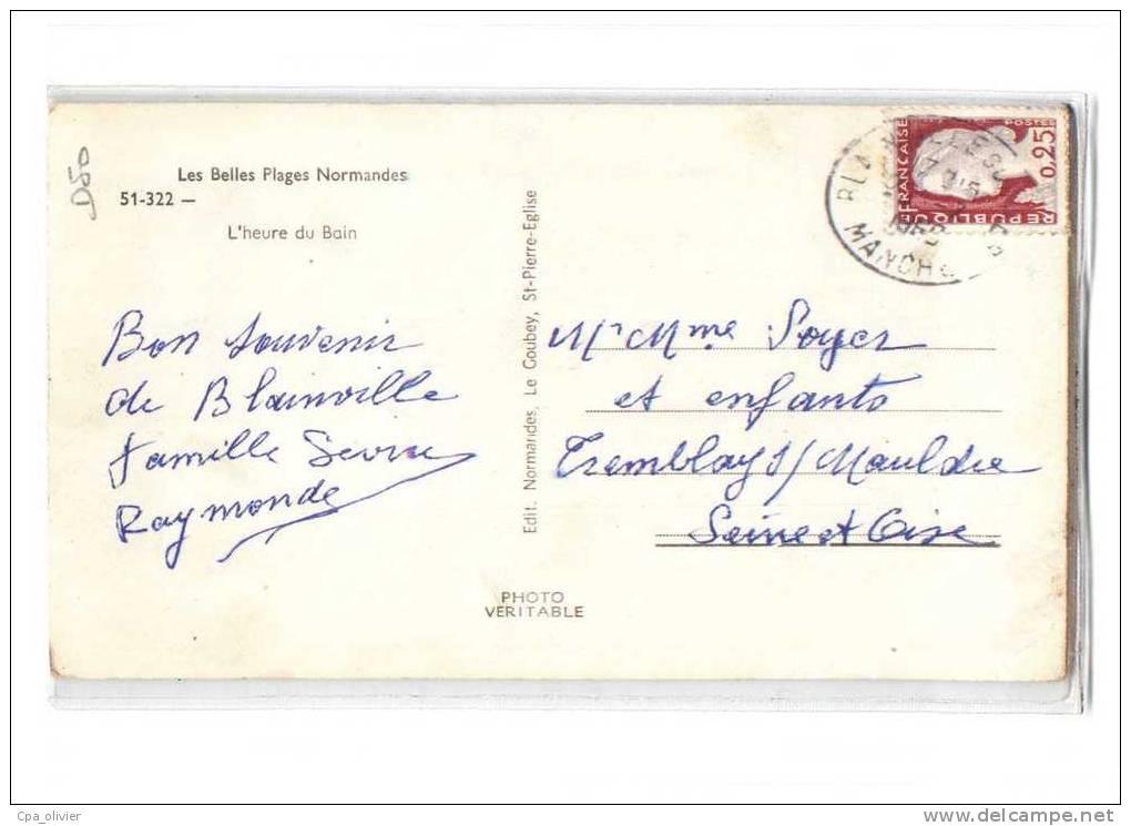 50 BLAINVILLE SUR MER (envs St Malo Lande) Plage, Heure Du Bain, Ed Le Goubey 51322, Plages Normandes, CPSM 9x14, 1964 - Pontorson