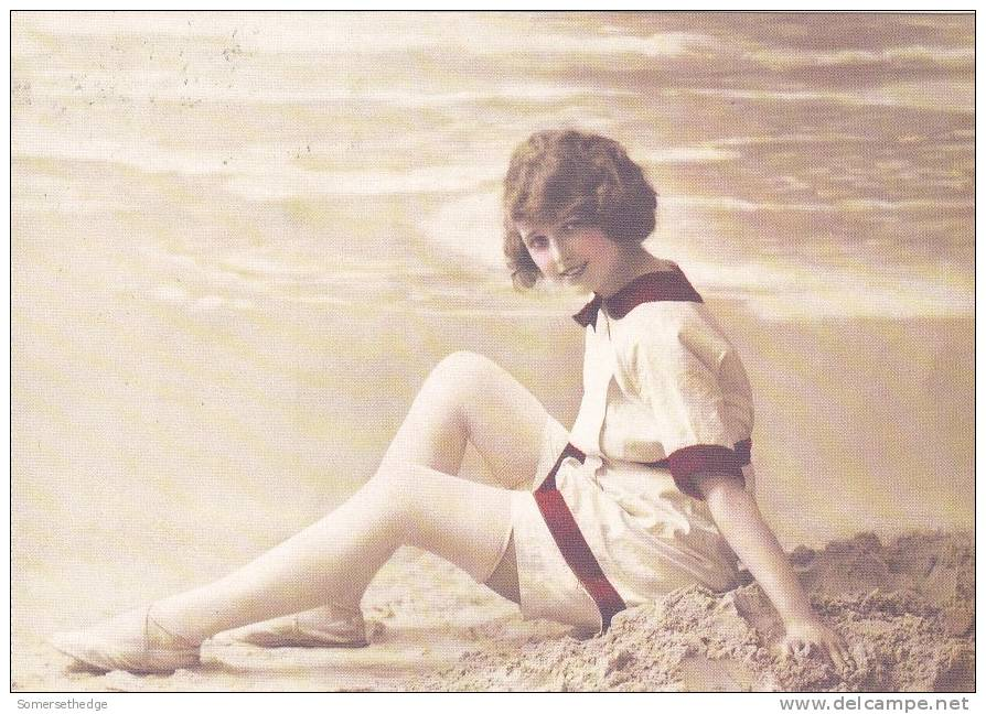 FEMALE IN A 1914 BATHING SUIT ON THE BEACH 1914  (GLM1466) REPRO - Women
