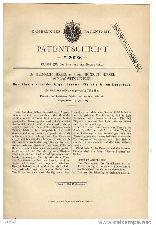 Original Patentschrift - Dr. H. Hirzel In Plagwitz - Leipzig , 1882 , Argandbrenner , Lampe , Gaslampe !!! - Historische Dokumente