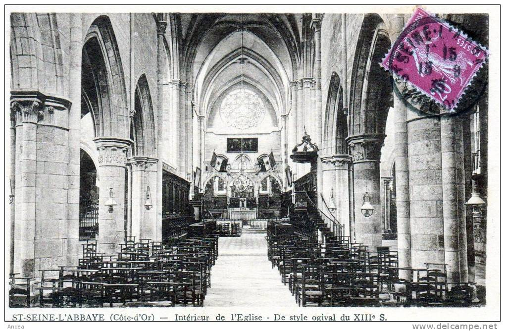 CPA...  SAINT SEINE L´ABBAYE..INTERIEUR DE L´EGLISE..XIII° SIECLE..PR IX : 1,45 € - France