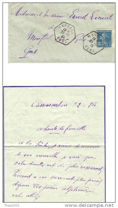Lettre De Maubrun Gers Pour Monfort. 29.11.1925 - Postmark Collection (Covers)