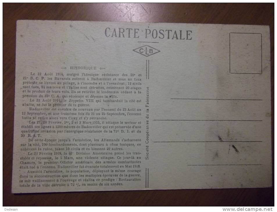 CPA Badonviller Monument Commémoratif Carte Du Front - BU01 - Altri Comuni
