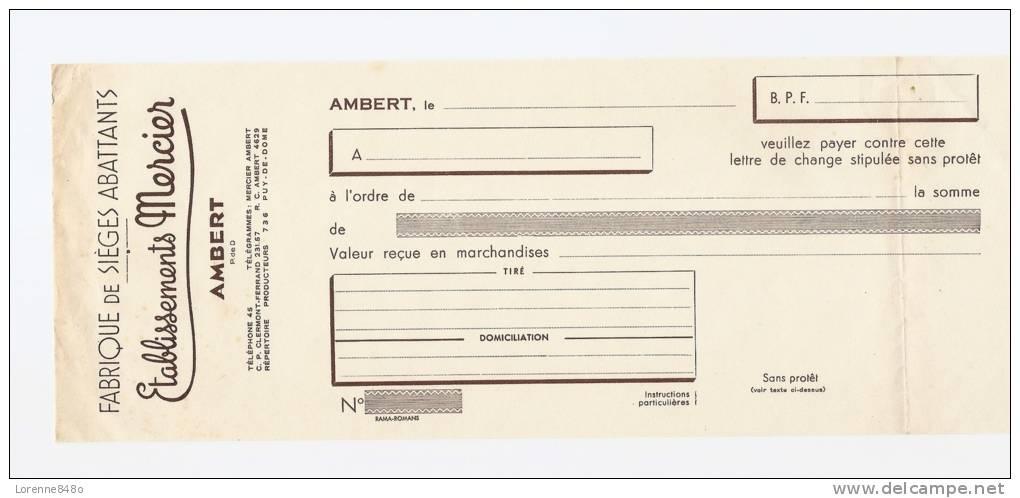 -63- ... LETTRE DE CHANGE....ETS MERCIER..Fabrique De Sièges Abattants à AMBERT (Puy De Dôme)... - Bills Of Exchange