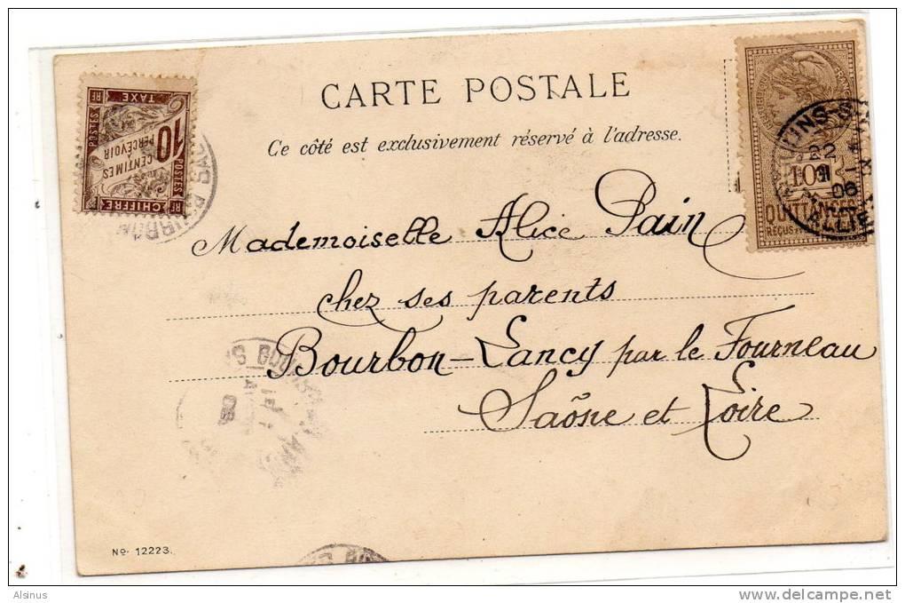 1906 - TIMBRE DE QUITTANCE DE 10 C UTILISE POUR AFFRANCHISSEMENT POSTAL SUR CARTE POSTALE TAXEE A 10 C - Fiscaux