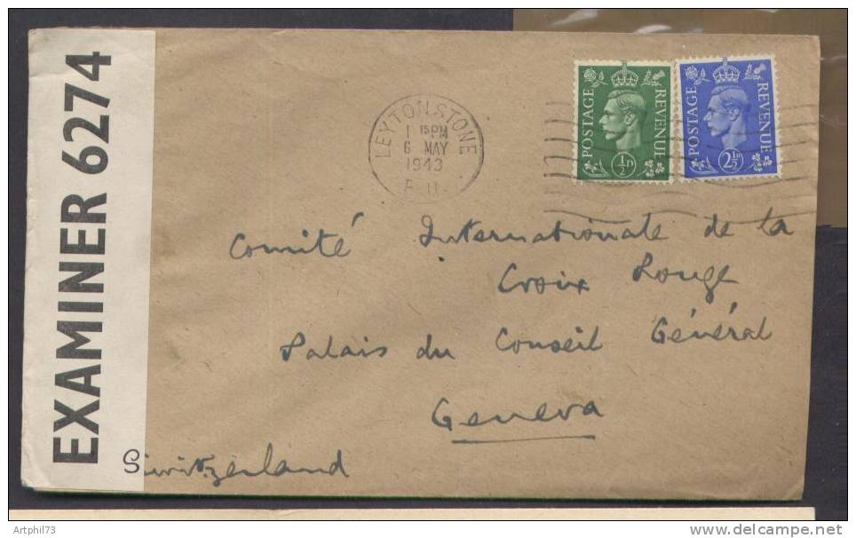 55192 - G.B. - 2 TP OMEC LEYTONSTONE May 1943 Pour La Suisse, Censure  6274 TB - Militaria