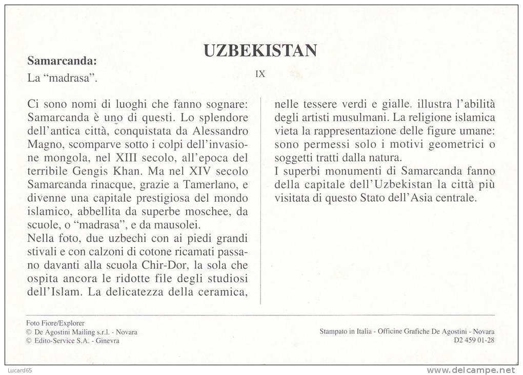 POSTCARD/ CARTE POSTALE / CARTOLINA  UZBEKISTAN - SAMARCANDA - LA MADRASA - Uzbekistan