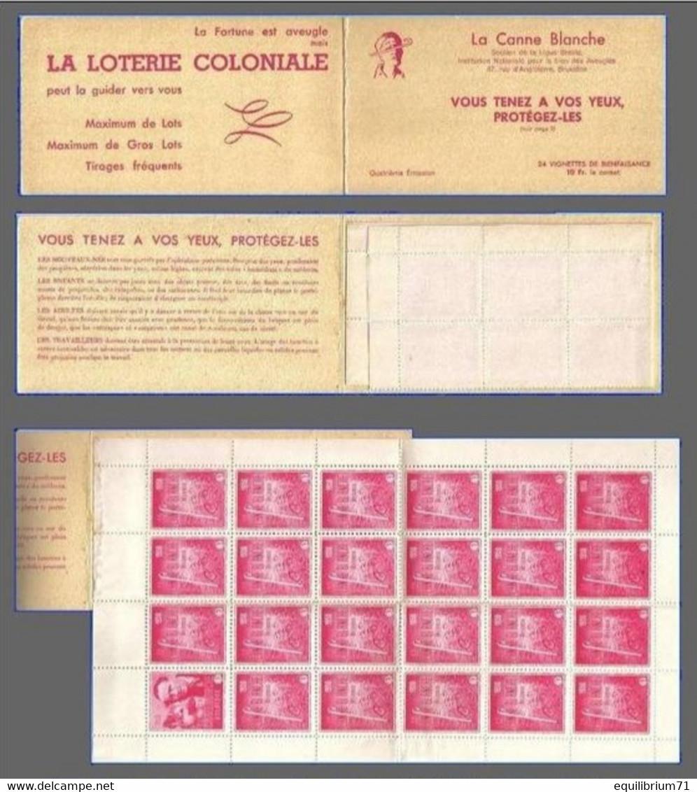 """Vignettes (24)** - Carnet  """"La Canne Blanche"""" - 1950 - Belgique - Erinnophilie"""