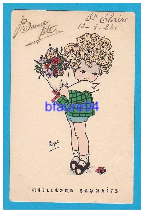 Bonne Fête  Ste Claire   Petite Fille Avec Fleurs Illustrateur Suzel - Feiern & Feste