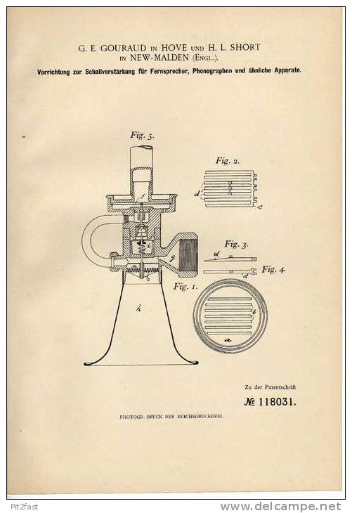 Original Patentschrift -  Schallverstärker Für Phonograph , Telephon , 1899 , G. Gouraud In Hove Und New Malden England - Telephony