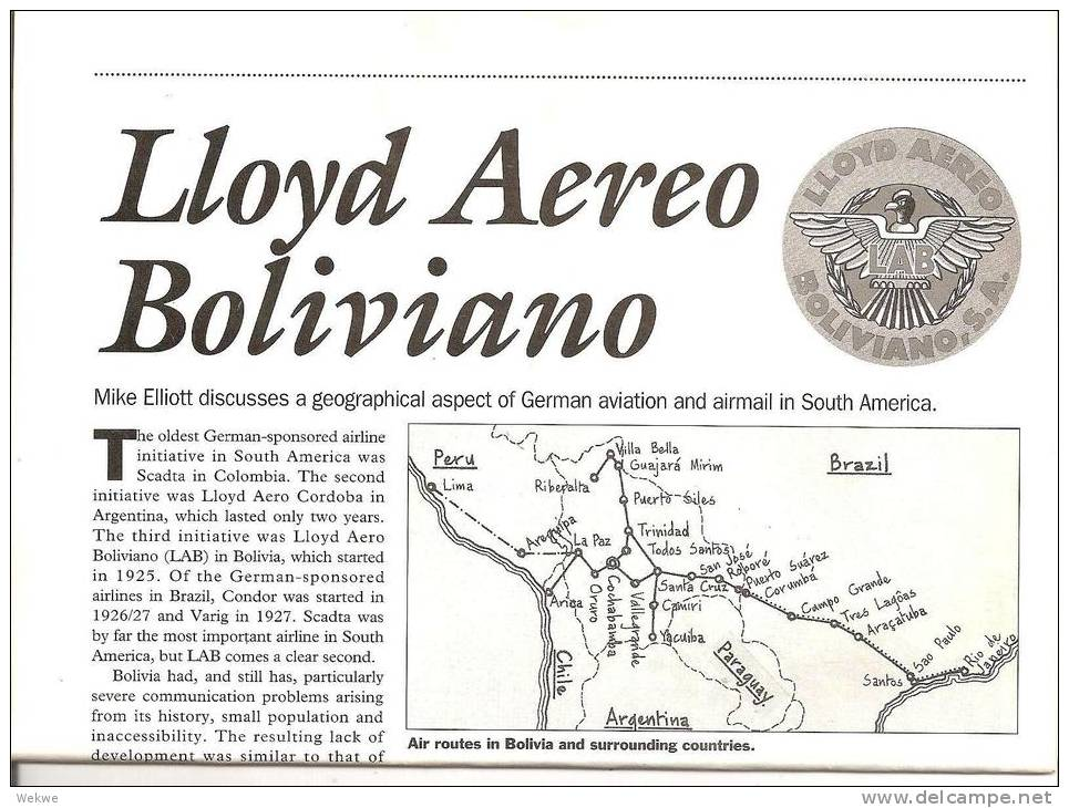Bolivien.German Aviation Activities In South-Amerika. Special Feature On Lloyds Aero Belivian. (5 Pages) - Philatelie Und Postgeschichte