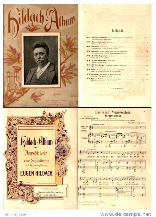 Ca. 1898 Notenheft Hildach Album - Ausgewählte Lieder Für Eine Singstimme Mit Klavierbegleitung Von Eugen Hildach - Varia
