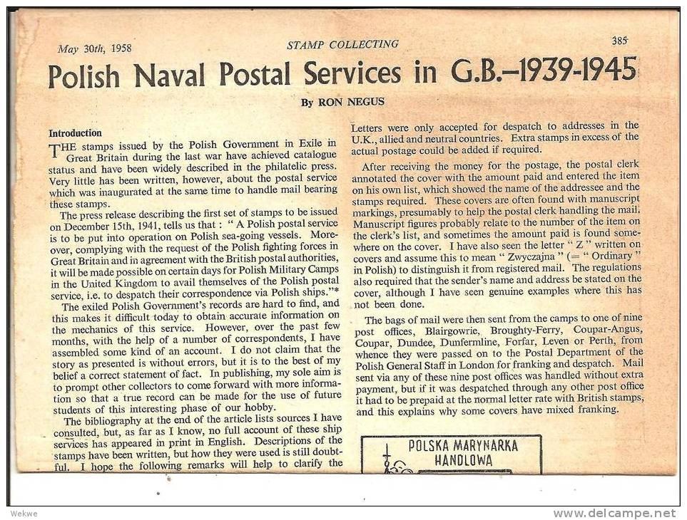 Polen. Naval Postal Services. Extensive Information On 4 Pages. - Philatelie Und Postgeschichte