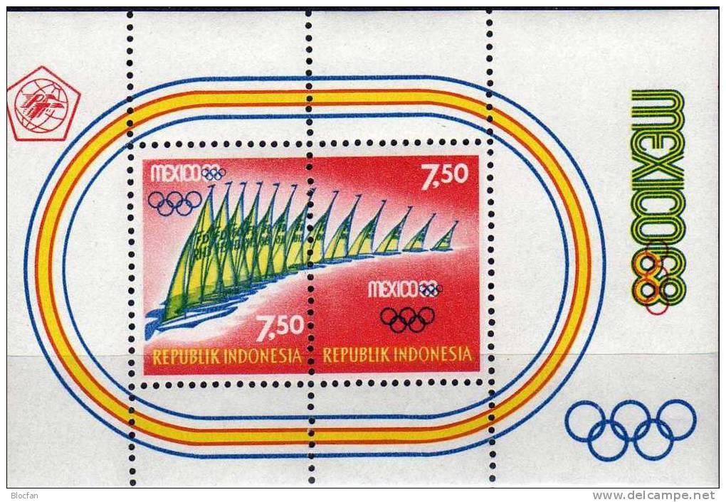 Sommer-Olympiade Mexiko 1968 Indonesien Block 12 ** 7€ Segeln Bloc Olympic Sheet Fogli Sport M/s Bf Of Indonesia - Summer 1968: Mexico City