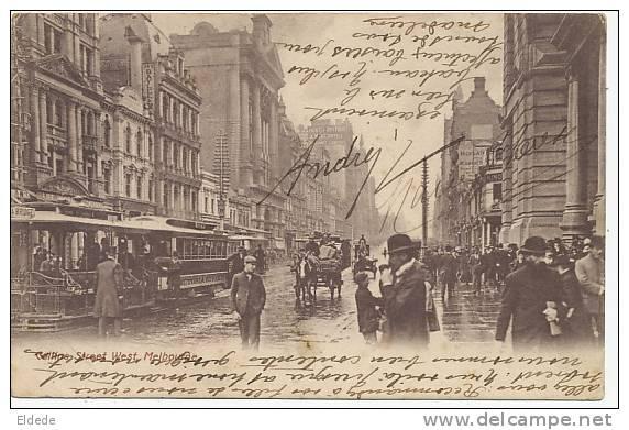 Melbourne Collins Street West P. Used 1906 To Roubaix France  Crease Left Bottom Corner  Tram - Melbourne