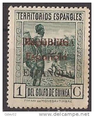 GUI243A-LA190TCSC.Guinee .GUINEA   ESPAÑOLA  1933 (Ed 243A**) Sin Charnela.EXCELENTE .MUY RARO - Sin Clasificación