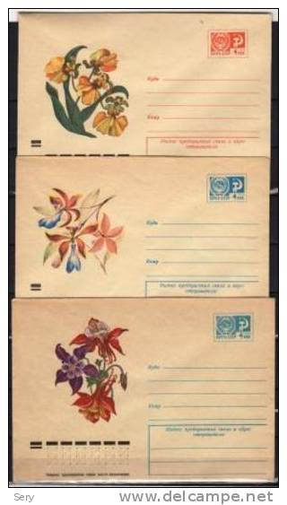 USSR  1973  Postal Stationery  3 Covers   Fleur Fleurs Flower Flowers Blme Blumen - Bäume