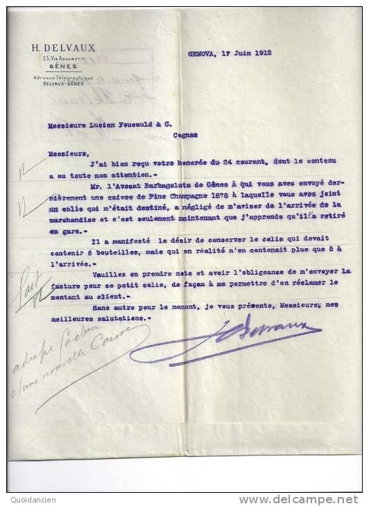 Facture  - 01/06/1912  -  GENOVA  (  GENES )  Italie  -  H.  DELVAUX - Italie