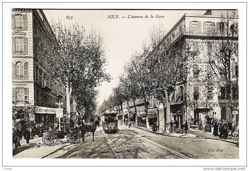 Nice - L'Avenue De La Gare - Tramway Et Calèche - Taverne Gothique - Dos Vierge - TB état - Non Classés