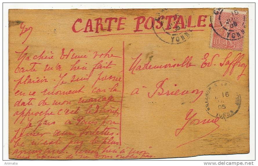 Carte Peinte Main Par Geo Sur Du Bois Voyagé Yonne Brienon Hand Painted On Wood - Cartes Postales
