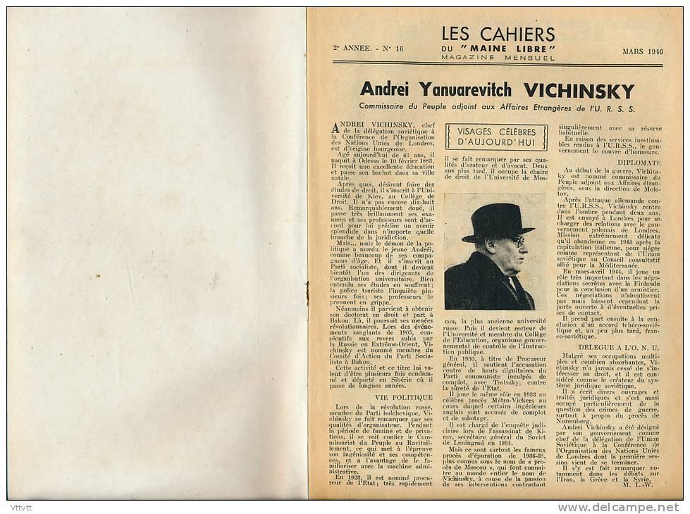 Les Cahiers Du Maine Libre (n° 16, Mars 1946) : Haras Du Pin, Suez, Panama, Rotterdam, Zuyderzée, Saint-Georges-sur-Erve - 1900 - 1949