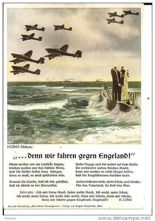 III-Pro126 Propagandakarte   Schlacht Um England Mit Text Des U-Boot-Liedes, Ungebraucht - Allemagne