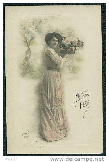 Bonne Fete - Woman With Basket Full Of Flowers - Felicitaciones (Fiestas)