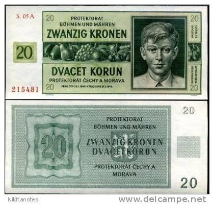 BOHEMIA & MORAVIA 20 KORUN 1944 P 9 UNC - Czechoslovakia