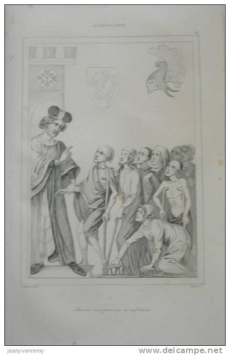 Allemagne - Secours Aux Pauvres Et Infirmes - Gravure Originale - Tirage D´époque - 1838. - Estampes & Gravures