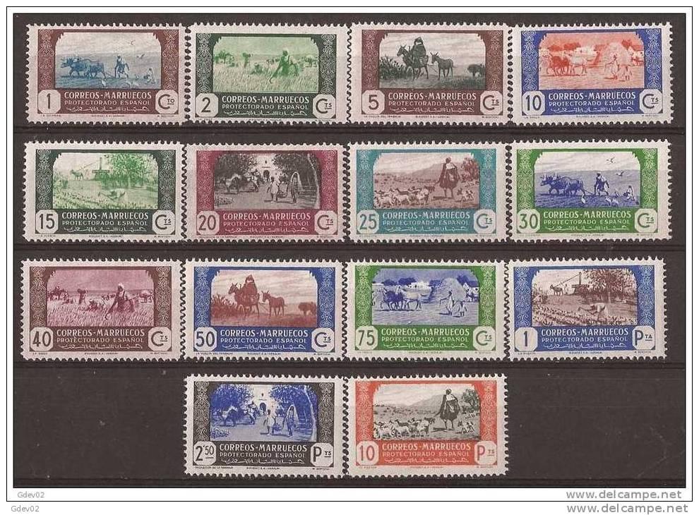 MA246-L3929TAO. Maroc Marocco MARRUECOS ESPAÑOL AGRICULTURA 1944 (Ed 246/59**) Sin Charnela.MAGNIFICA - Sellos