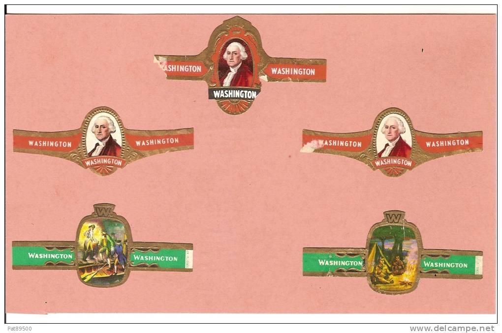 Bagues De CIGARES / LOT De 5 Bagues (1 Double) Marque WASHINGTON Collées Sur Carton Poids 10 Grammes Environ/ MEDIOCRE ! - Bagues De Cigares