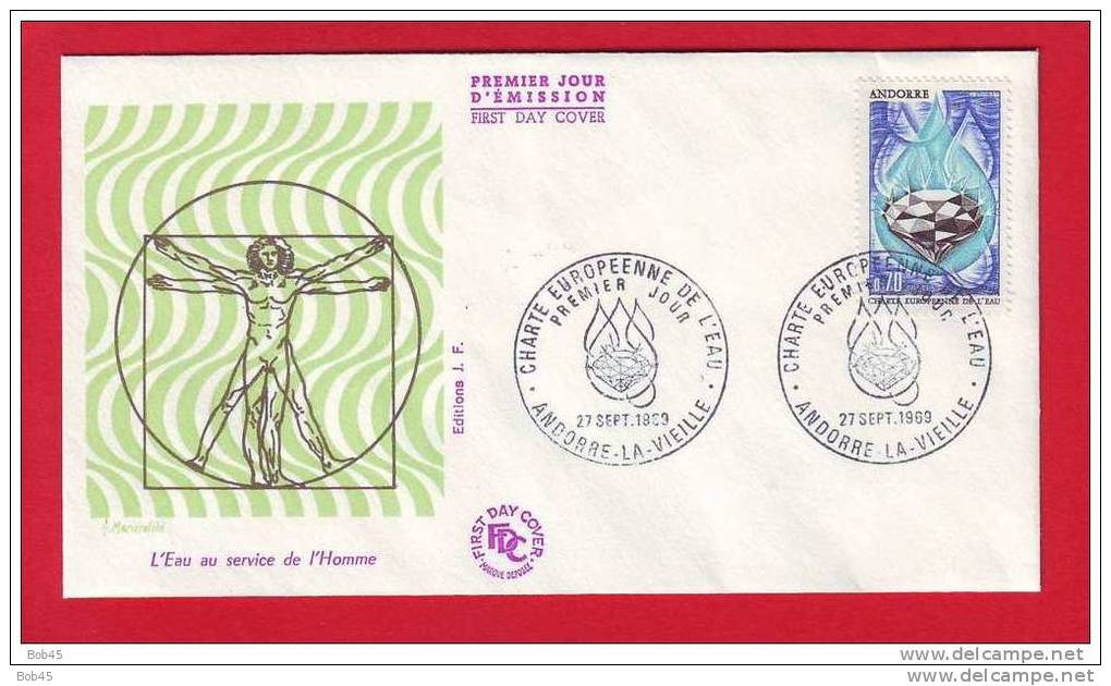 (9552-1969) FDC Homme De Vitruve Charte Européenne Eau Goutte Diamant Andorre La Vieille - FDC