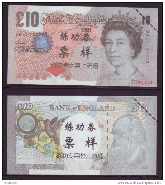(Replica)China BOC Bank Training/test Banknote,United Kingdom Great Britain D Series 10 POUND Note Specimen Overprint - [ 8] Fakes & Specimens
