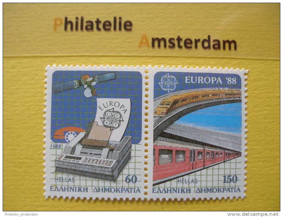 Greece 1988, EUROPA CEPT / TRANSPORT COMMUNICATIE TRAINS EISENBAHN TREINEN: Mi 1685-86, ** -pair - Europa-CEPT