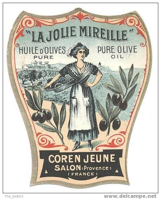 """Etiquette d´huile d´olive """"La jolie Mireille"""" Années 20/30 Etat ..."""