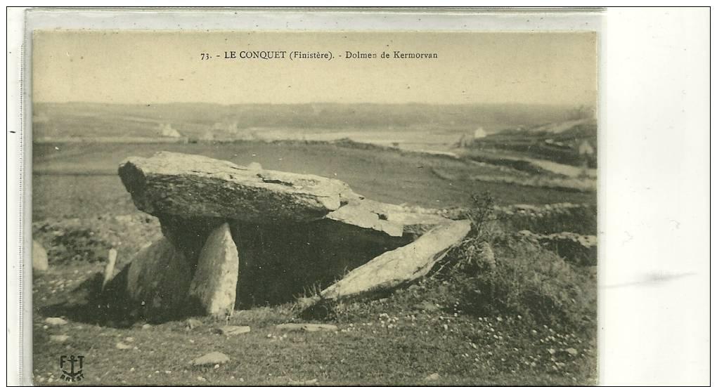 N 73 LE CONQUET  DOLMEN DE KERMORVAN   GROS PLAN - Dolmen & Menhirs