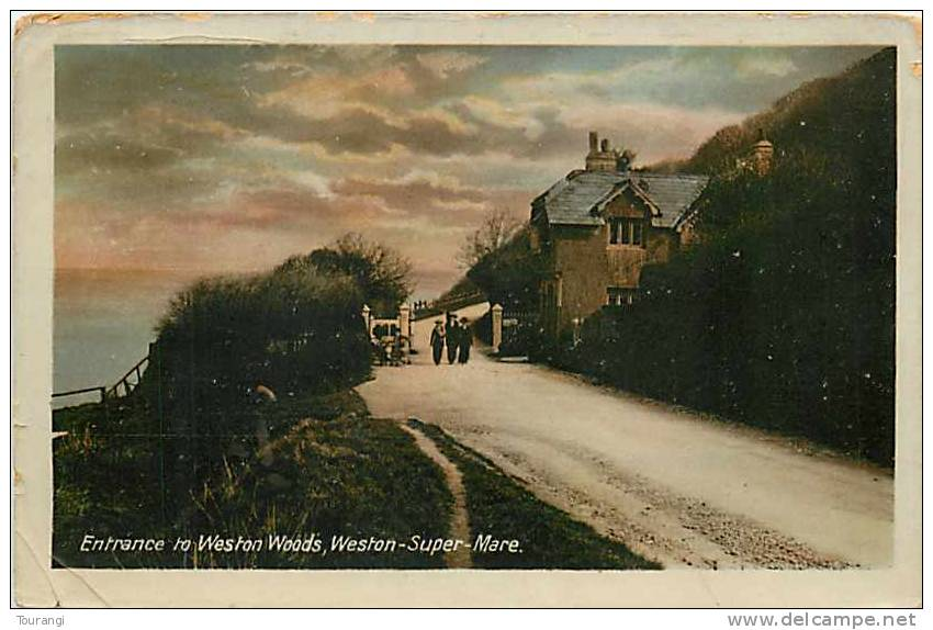 England : Mar12 576 : Weston-Super-Mare  -  Weston Woods Entrance  -  Semi-modern Postcard - Weston-Super-Mare