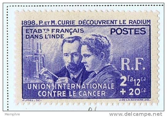 INDE 1938  Pierre Et Marie Curie  Yv 115  * - Indien (1892-1954)