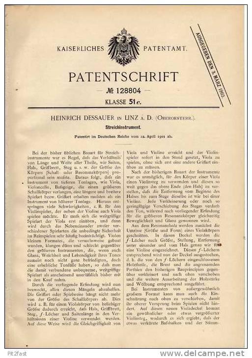 Original Patentschrift - H. Dessauer In Linz A. D, 1901, Geige , Violine , Stradivari  !!! - Musikinstrumente