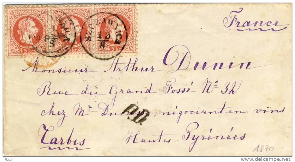 Österreich 1867 - Szczawnica Brief Nach Frankreich - 5 * 5 Kreuzer - 1850-1918 Imperium