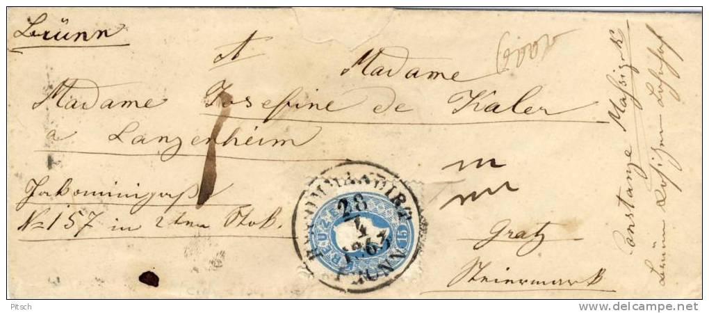 Österreich 1860 - Recommandirt Von Brünn Nach Graz - 10 + 15 Kreuzer - Briefe U. Dokumente