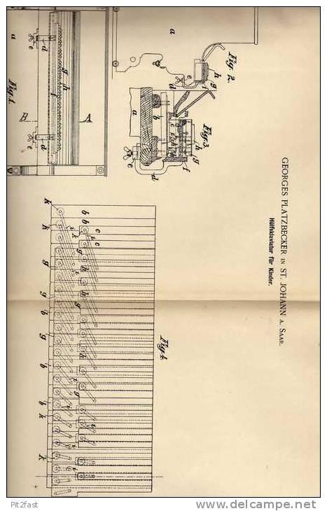 Original Patentschrift - G. Platzberger In St. Johann , 1900 , Klavier Für Kinder , Piano , Tastatur !!! - Musikinstrumente