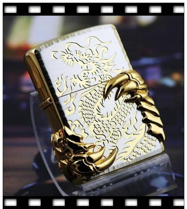 Zippo Lighter - Three-side Gold-plating Dragon TalonDragon Zippo Lighters