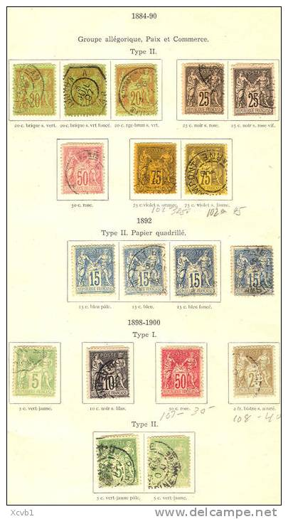 # France  64 To 108 Used, With Color Varieties, INCLUDES Scott 87   (frlot08-a,   Mich. 56 To 85  [106@IOPMN - France