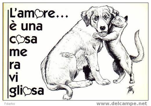Gatti Cartoline Postali Chat - Kat - Katze Pussy Cat - Cane Chien Dog Carte Perro Hund CPM Chiens - Hunde