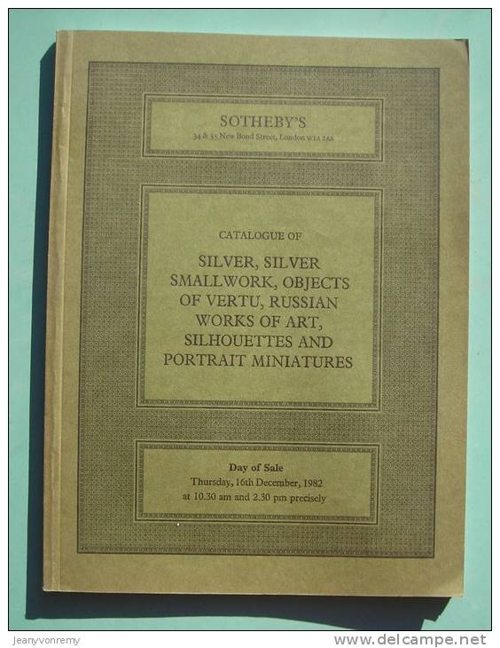 CATALOGUE OF SILVER, SILVER SMALL WORK, OBJECTS OF VERTU, RUSSIAN WORKS OF ART. - Livres, BD, Revues