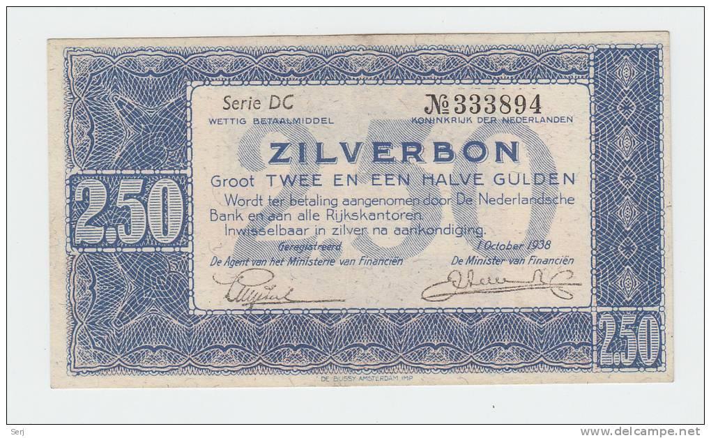 Netherlands 2.5 2 1/2 Gulden 1938 Zilverbon XF+ Banknote  P 62 - [2] 1815-… : Regno Dei Paesi Bassi