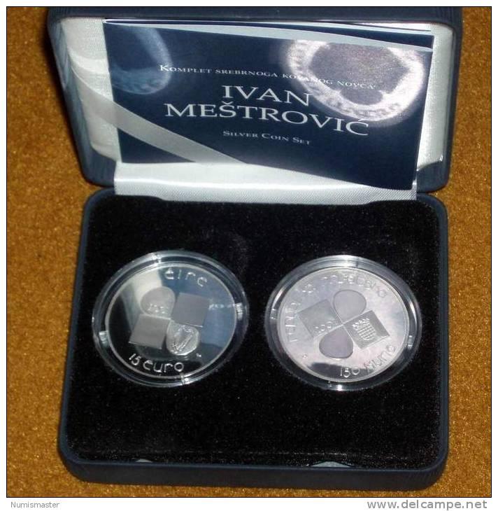 IRELAND / CROATIA 15 EURO / 150 KUNA MESTROVIC , ONLY 1000 SETS , PROOF - Irlande